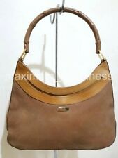 SALE - GUCCI BAMBOO HANDLE SUEDE AND LEATHER SHOULDER BAG - AUTHENTIC