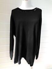 BLUE ILLUSION Womens Plus Size Black Cotton/Cashmere Jumper Beaded Neckline 3XL