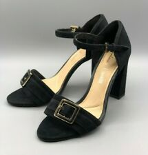 "NEW Clarks ""Curtain Shine"" Ladies Black Suede Block Heel Sandals UK 5.5 D"