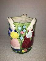 Vintage Takahashi Porcelain Planter Bunny's Cat Bright Dress Holding Flower