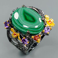 Factory Design Jewelry Natural Malachite 925 Sterling Silver Ring Size 9/R94132