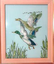 original reverse hand painted glass alumin art hunting duck bird painting Elyse