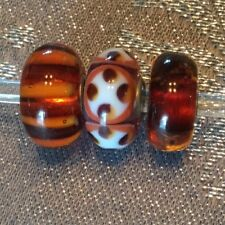 Trollbeads Brown Amber Unique Set/Lot 3 Beads