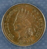 1901 Indian Head Cent Penny - ANACS AU 58 - Certified Almost Uncirculated