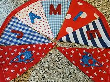 PERSONALISED BUNTING-RED, WHITE & BLUE SPACE MIX - ROCKETS & STARS-£1 PER FLAG