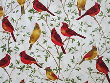 REALISTIC BIRDS CARDINALS TREES COTTON FABRIC FQ OOP