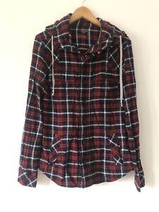 All Saints Alaska Hooded Shirt Jacket Shacket Size S Red Check Long Sleeve
