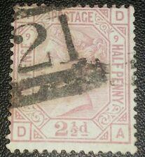 Duzik: Gb Qv Sg141 2½d rosy mauve D-A Pl.9 used stamp (No.693) *