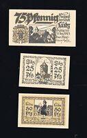 3x Notgeld Gutschein Stadt LÜBZ Mecklenburg 1923 25,50,75 Pf