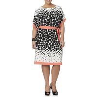 Women's Studio One Plus Polka Dot Dolman Sleeve Belted Dress Ivory/Blk/Coral 20W