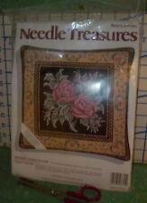 Needlepoint Kit Needle Treasures Midnight Roses Pillow 12 x12 Pillow Nip