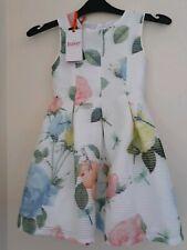 Ted Baker-Girls' off white rose print dress Age 4-5 UK.