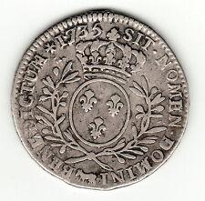 Louis XV, rare 1735 Pau silver 1/2 ecu aux branches d'olivier