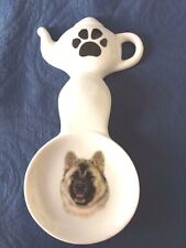 New listing Akita Dog New Handmade Ceramic-Porcelain Tea Bag Spoon Rest Gift Kiln Fired Pet