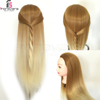 100% Colorful Hair Training Head Hairdressing Styling Mannequin Doll Brown Gold