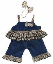 Teddy Bear Clothes fits Build a Bear Teddies Denim Leopard and Bow Set Outfit