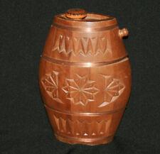 Vintage hand made carved wood brandy flask keg