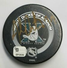 Adam Oates Signed Anaheim Mighty Ducks Official Game Hockey Puck Global Auth. B