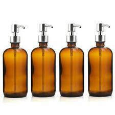 Pump Bottle 4pcs 500ml Amber Glass Stainless Steel Lotion Oils Liquid Dispenser