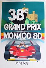 1980  38e Monaco Grand Prix Lithograph Poster 1989 Collectible