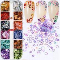 Women Nail Art Slice Sequins Decals Set Rainbow Round Holo Circle Nails Glitter