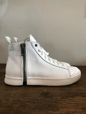 Diesel S-Nentish White Leather Zip Around Fashion Hi Top Shoes Sneakers Sz 10.5