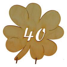 Geschenk zum 40 Geburtstag Hochzeit Jubiläumszahl Kleeblatt aus Holz 11cm Deko
