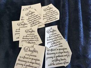 """8 Ceramic Decals kiln Daughter poem  3"""" and 2 """""""