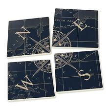 COMPASS ROSE Nautical Ceramic Coasters, Set of 4, by P. Graham Dunn