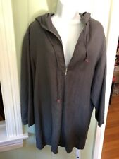 Dignity Gray Linen Viscose Blend Hooded Zip Front Jacket Pockets Sz 44 Plus 1X