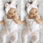 Cute Newborn Baby Infant Girl Bodysuit Romper Jumpsuit Clothes Outfit +Head Band