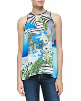 CLOVER CANYON |  Womens Corfu Mixed Print Top New [ Size S or AU 10 / US 6 ]