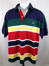 Tommy Hilfiger VTG 90's Men Large Colorblock Stripe Short Sleeve Casual Polo B17