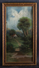"Antique American Original Pastel On Paper ""Rural House"" Signed"