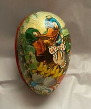 """Vintage Paper Mache Egg Candy Container Ducks & Chicks Western Germany 4 1/2"""""""