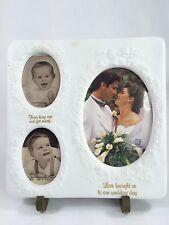 Wedding Picture College, 3 Pictures, White, 9.5 x 9.5, EUC