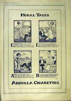 Original Old Vintage Print Morl Tales Abdulla Cigarettes Advert 1918 20th