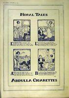 Original Old Vintage Print Morl Tales Abdulla Cigarettes Advert 1918 20th