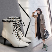 New Womens Lace Pointy Toe Lace Up Kitten Heels Side Zip Ankle Boots Sz
