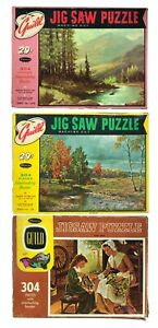 Lot of 3 Vintage Whitman Guild Puzzles Each 304 Pieces Old Fashioned