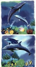 "2 Dolphin Ocean Scene 5-1/2"" X 5-1/2""  Waterslide Ceramic Decals Xx"