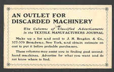 DATED 1902 PC NY TEXTILE MFG JOURNAL ADV TO DISCARD MACHINERY J H BRAGDON & CO
