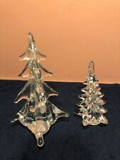 2 Clear Crystal Christmas Trees