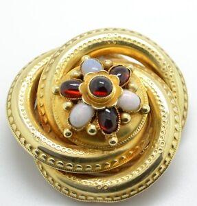 Beautiful Vintage 14ct Gold Cabochon Garnet & Opal brooch