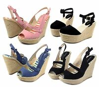 MINNA-02 Buckle Wedges Party Prom Comfort High Heel Platform Sandals Women Shoes