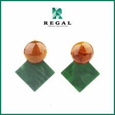 Beauty Gonzalez - Green Flat Diamond Drop Earrings - Regal Jewelry Collection