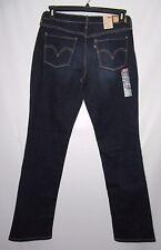 New Levi's 505 Mid Rise Straight Leg Dark Blue Stretch Jeans 8M / 29 Inseam 32