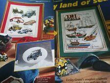 CROSS STITCH CHART BOAT & CAR SAMPLER CHARTS LAND OR SEA BOATS CARS