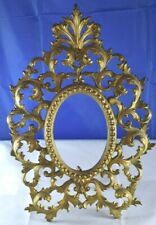 """ANTIQUE ART Nouveau BRASS Picture FRAME Scroll Design 12 1/2"""" For Oval Picture"""