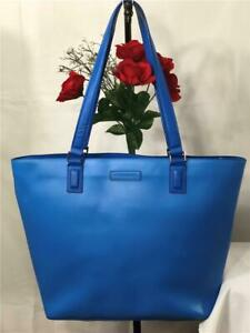 Liked New~VERA BRADLEY Azure Blue Smooth Faux Leather X Large Shoulder Tote Bag